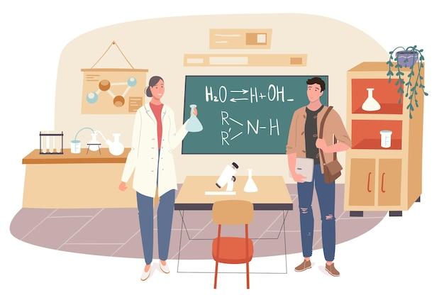 Concetto di web della scuola. lo studente impara la chimica in classe. insegnante materia di insegnamento nella lezione in classe. scienza e educazione