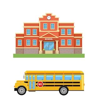 Scuola con prato verde e scuolabus giallo set