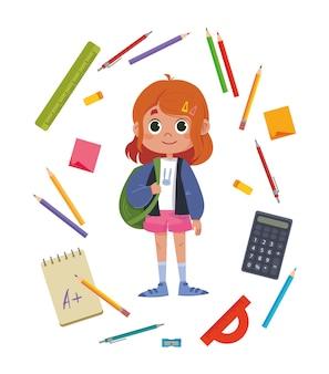 Scolaro carino bella ragazza circondata da argomenti legati allo studio. stazionario. illustrazione vettoriale multicolore. matite, calcolatrice, righello e altro piatto divertente