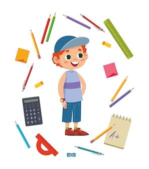 Scolaro divertente ragazzo dai capelli rossi circondato da argomenti legati allo studio. stazionario. illustrazione vettoriale multicolore. matite, calcolatrice, righello, ecc.