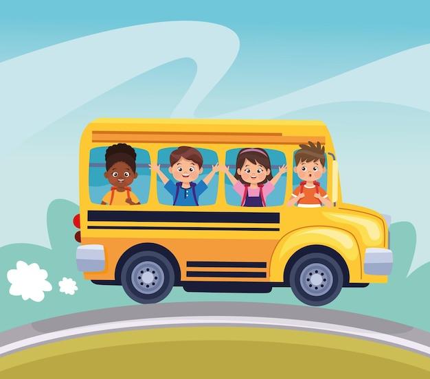 Scuolabus con studenti