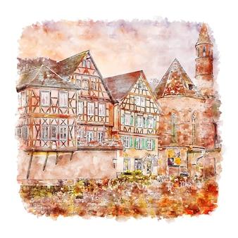 Illustrazione disegnata a mano di schizzo dell'acquerello di schwabisch hall germania