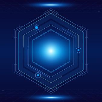 Modello futuristico esagonale di fantascienza, fondo di tecnologia del futuro di innovazione