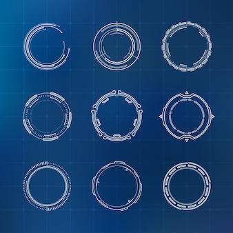 Set di elementi del cerchio dell'interfaccia utente futuristica moderna di fantascienza hud abstract astratto