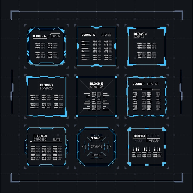 Set di blocchi quadrati di interfaccia utente futuristica moderna di fantascienza con hud astratto di dati