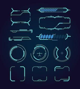 Sci fi ui. hud web elementi futuristici spazio moderno gioco segni callout divisori digitali cornici ologramma simboli vettore. grafica tecnologica futuristica, modello di illustrazione digitale per interfaccia