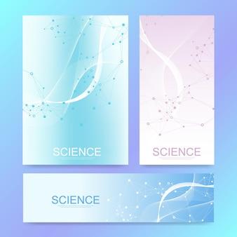 Modello della bandiera di scienza con molecole colorate su sfondo moderno.