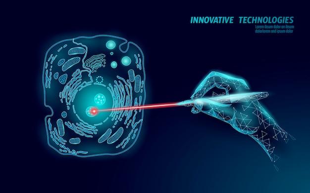 Concetto di modifica del gene di scienza biologia. modifica della realtà virtuale con operazione laser.
