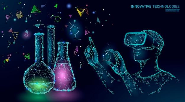 Concetto di modifica del gene di biologia scientifica. occhiali vr per realtà virtuale a proiezione olografica.