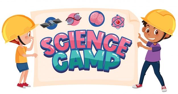 Logo del campo di scienza con due bambini che indossano il costume da ingegnere isolato