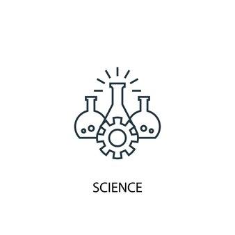 Icona della linea di concetto di scienza. illustrazione semplice dell'elemento. disegno di simbolo di struttura del concetto di scienza. può essere utilizzato per ui/ux mobile e web