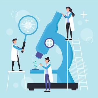Concetto di scienza con microscopio