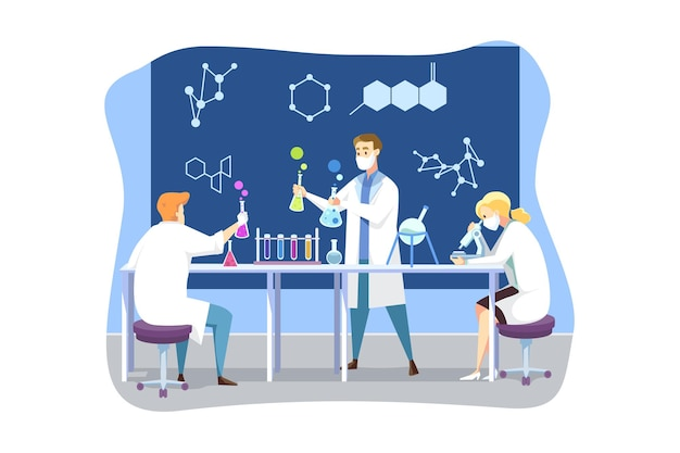 Scienza, coronavirus, chimica, concetto di vaccino medico. un team di medici uomini e donne in maschera medica crea il vaccino da covid19. test scientifici e ricerca accademica 2019ncov infezione.