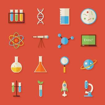 Set di oggetti di scienza e istruzione con ombra. illustrazioni vettoriali di stile piatto. di nuovo a scuola. raccolta di chimica biologia fisica astronomia e oggetti di ricerca su sfondo rosso
