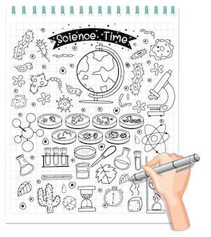 Elemento di scienza in stile doodle o schizzo isolato