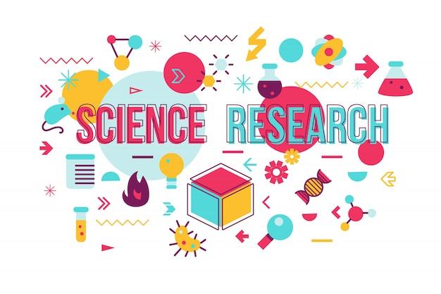 Progettazione di massima di parola di esperimento di scienza. illustrazione vettoriale di ricerca biochimica con icone