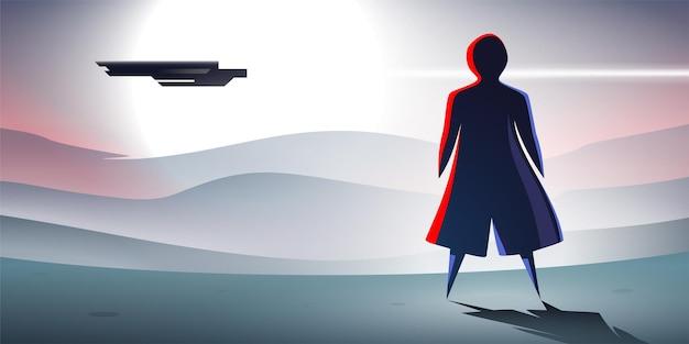 Scena vettoriale futuristica di fantascienza con una persona che guarda la navetta spaziale cosmica volante
