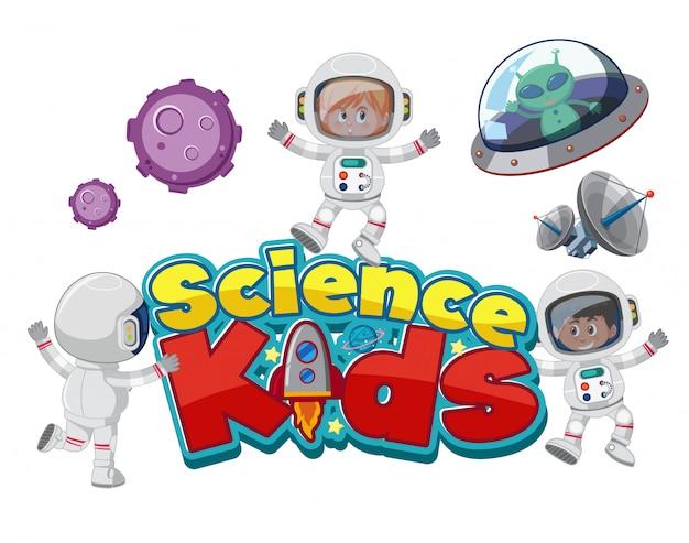 La scienza scherza il logo con gli astronauti e gli oggetti dello spazio isolati Vettore Premium