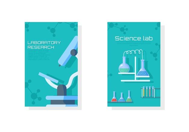 Science lab creative banner research.ricerca di laboratorio con provetta di vetro scientifico.
