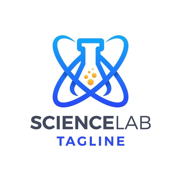 Science lab divertente logo gradiente monoline