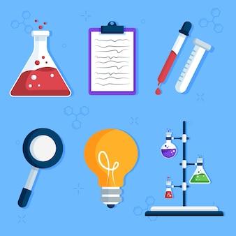 Set di oggetti di laboratorio di scienze