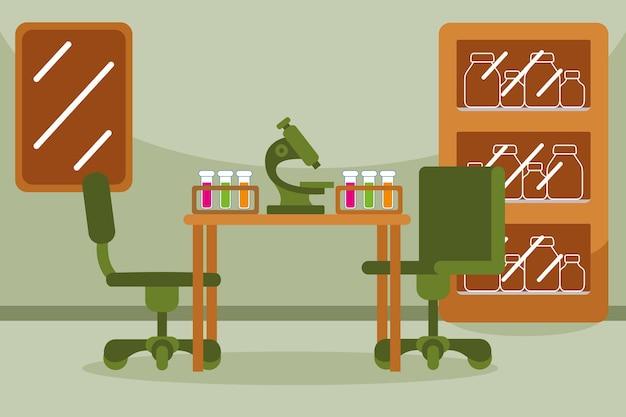 Laboratorio di scienze in stile design piatto
