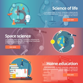 Scienza della vita. biologia. astronomia. studio dello spazio. terra nella galassia. leggendo libri. set di banner di educazione e scienza. concetto.
