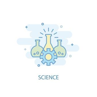 Concetto di linea scientifica. icona della linea semplice, illustrazione colorata. design piatto simbolo della scienza. può essere utilizzato per ui/ux