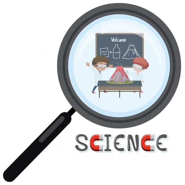 Logo della scienza con lo scienziato nella lente d'ingrandimento
