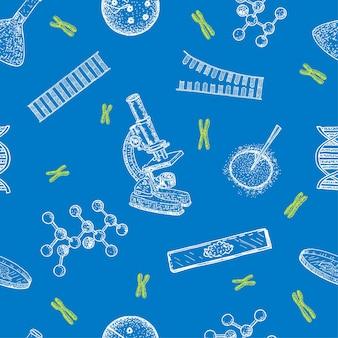 Scienza medicina genetica senza cuciture dna sfondo senza soluzione di continuità microscopio cromosomi