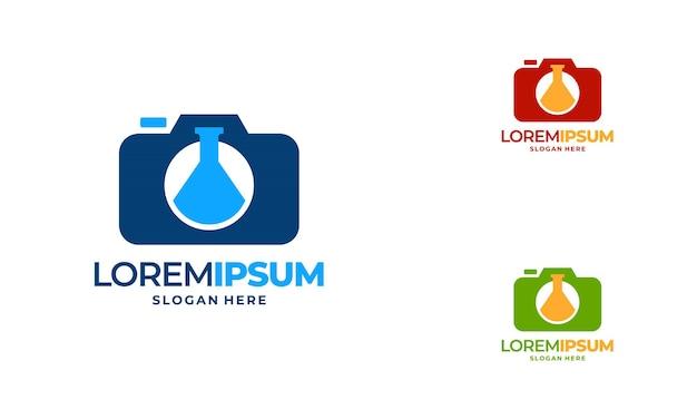 Il logo della fotografia scientifica progetta il vettore del concetto, l'icona del logo del laboratorio e della fotocamera