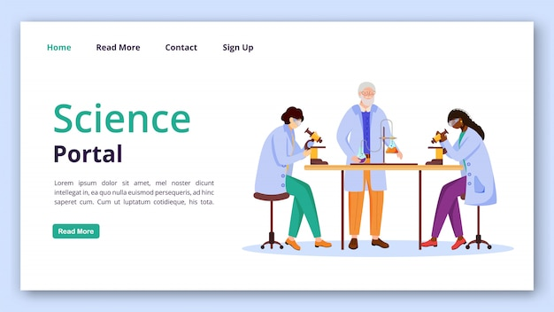 Modello di landing page del portale scientifico. idea pratica dell'interfaccia del sito web di informazioni chimiche con illustrazioni piatte. impaginazione moderna della homepage di tecnologia di apprendimento, insegna di web, concetto del fumetto della pagina web
