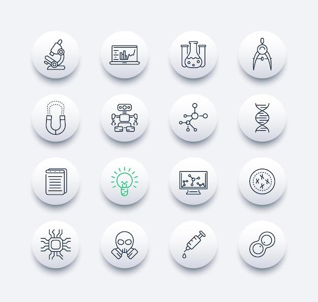 Set di icone della linea di scienza e ricerca, studio, laboratorio, chimica, fisica, genetica, robotica, ingegneria meccanica, integrata