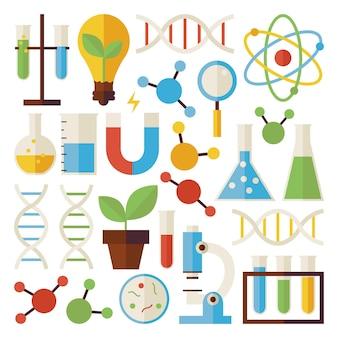 Set di oggetti di ricerca e scienza isolato su bianco. oggetti variopinti di vettore di stile piano. raccolta di modelli di fisica e biologia chimica e di ricerca. di nuovo a scuola.