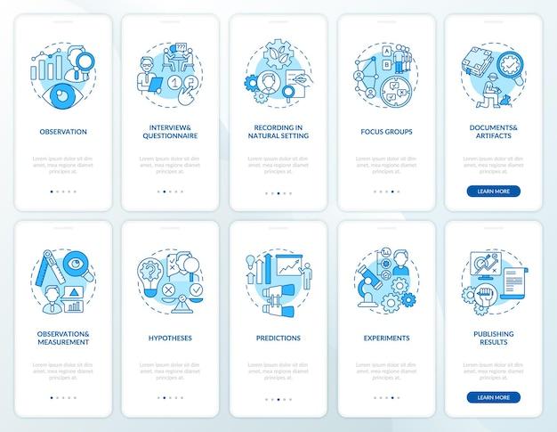 Schermata della pagina dell'app per dispositivi mobili per la ricerca scientifica con set di concetti