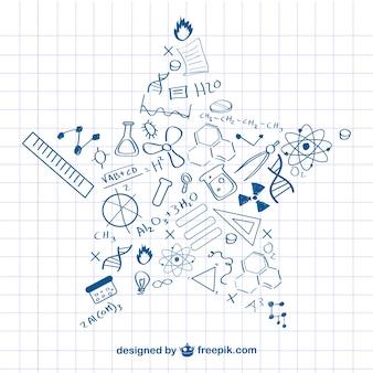 Doodles forma della stella di scienza