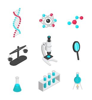 Insieme isometrico di simboli di scienza isolato su bianco
