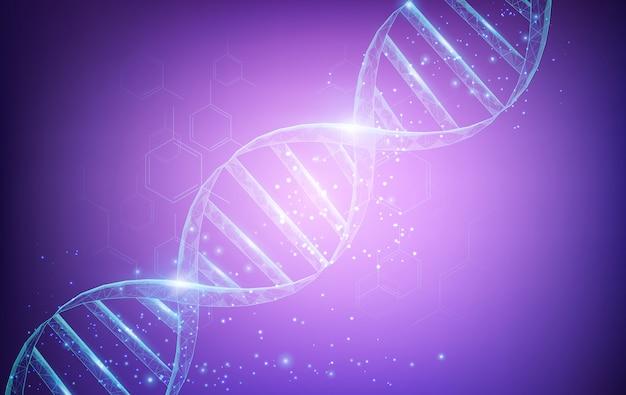 Concetto di scienza e tecnologia con struttura di molecole di dna