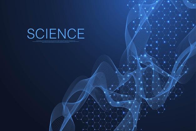 Carta da parati o banner modello di scienza con molecole di dna. illustrazione vettoriale