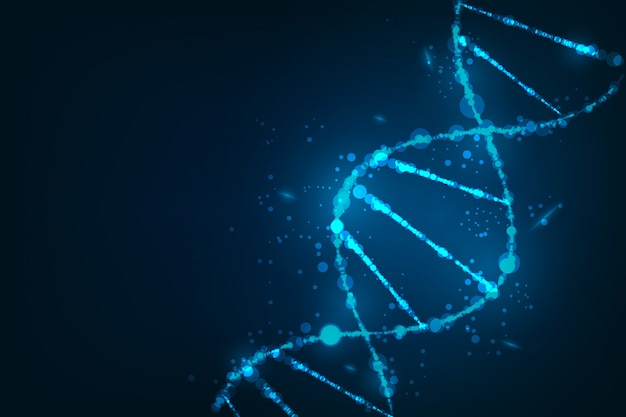 Modello di scienza, carta da parati o banner con molecole di dna
