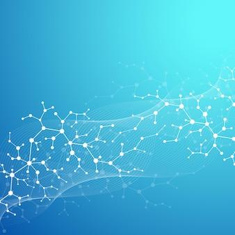 Carta da parati o banner modello scientifico con molecole di dna
