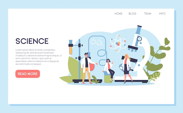 Banner web scienza o concetto di pagina di destinazione. idea di educazione e innovazione. studia biologia, chimica, medicina e altre materie all'università.