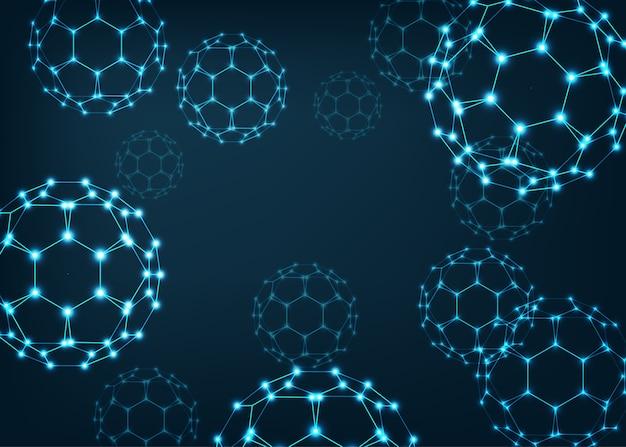 Sfondo scientifico con molecole di fullerene buckyball.