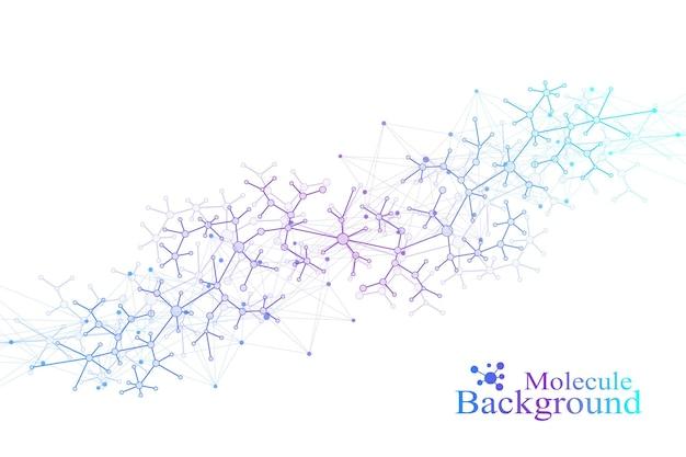 Modello di chimica scientifica. ricerca del dna della molecola della struttura come concetto. comunicazione di fondo di scienza e tecnologia. sfondo medico scientifico per il tuo design. illustrazione di vettore.