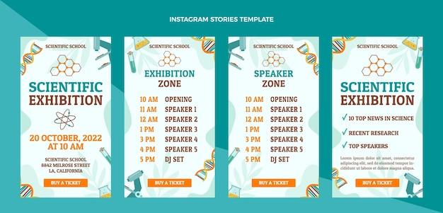 Mostre scientifiche instagram stories Vettore Premium
