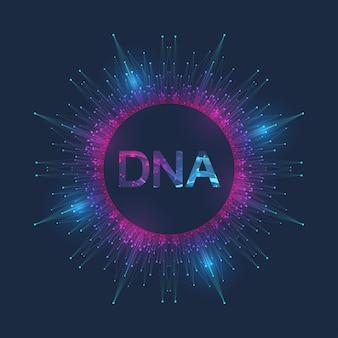 Illustrazione scientifica ingegneria genetica e manipolazione genica concetto elica del dna