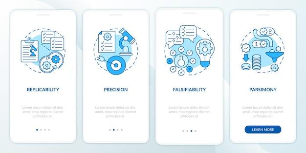Requisiti del metodo scientifico per l'onboarding della schermata della pagina dell'app mobile con concetti