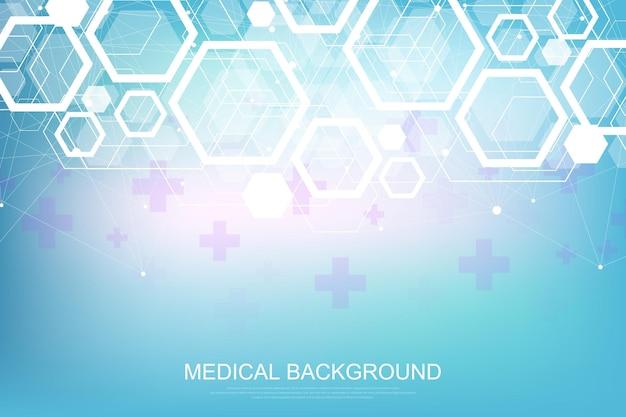 Fondo scientifico della molecola per medicina, scienza, tecnologia, chimica. carta da parati o banner con molecole di dna, dna digitale, sequenza, struttura del codice. illustrazione dinamica geometrica vettoriale
