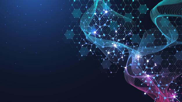 Fondo scientifico della molecola per medicina, scienza, tecnologia, chimica. carta da parati o banner con molecole di dna, dna digitale, sequenza, struttura del codice. illustrazione vettoriale.