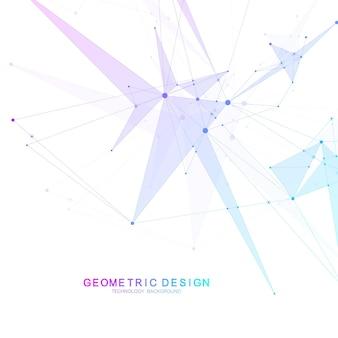 Fondo scientifico della molecola per medicina, scienza, tecnologia, chimica. carta da parati o banner con molecole di dna. illustrazione dinamica geometrica di vettore.